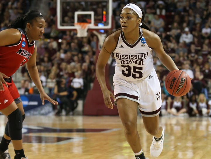 Mississippi State's Victoria Vivians (35) brings the