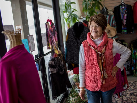 Suzanne's clothing boutique owner Suzanne Kuhn pictured Wednesday, March 2, 2016 at the Port Huron Factory Shops outlet mall in Kimball Township. Kuhn, who has been in business for 40 years, 5 of which were at the outlet mall, is looking at relocating to St. Clair or Port Huron.
