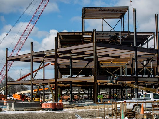 Work is underway on the new patient tower Friday, March 3, 2017 at McLaren Port Huron.  The 174,000-square-foot tower will house an emergency room with 35 bays, 18 ICU beds, 72 private beds, an observation unit and a laboratory.