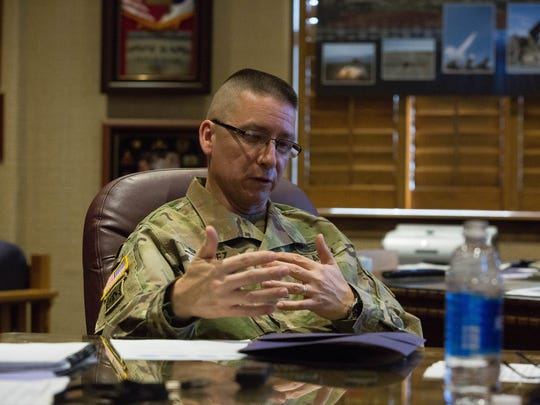 Brig.Gen. Eric Sanchez, speaks about White Sands Missile Range and its future, Tuesday, March 7, 2017 at WSMR's headquarters.