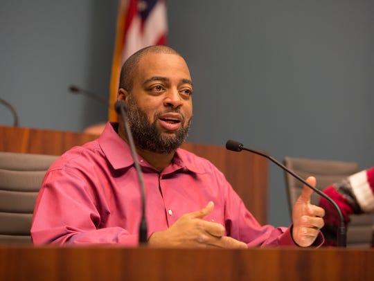 Wilmington City Councilman Va'Shun Turner speaks at a meeting.