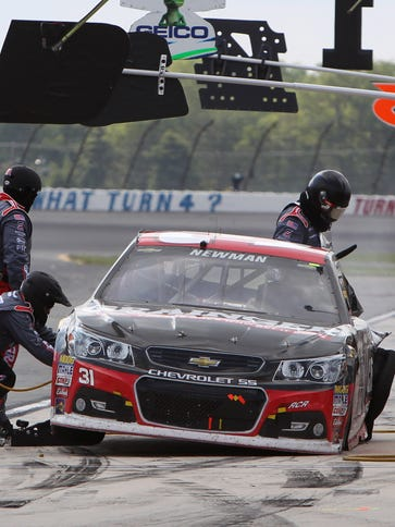 Ryan Newman makes a pit stop in the June race at Pocono,