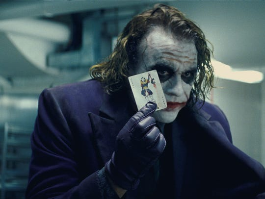 "Heath Ledger stars in 2008's ""The Dark Knight."""
