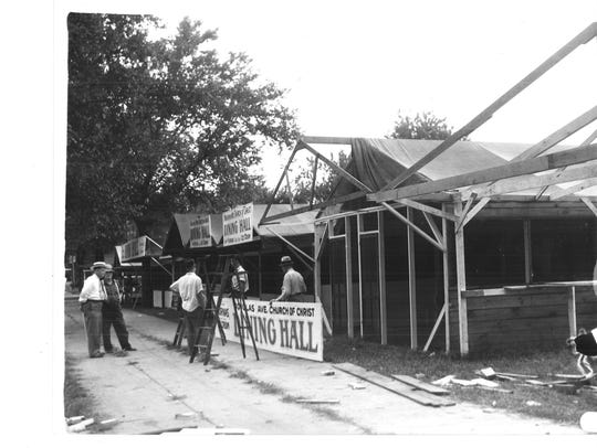 A photo of Church Row being set up for the 1939 Iowa