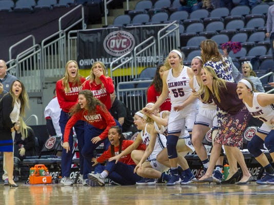 Belmont's bench reacts when the score is tied and goes to overtime against Tennessee-Martin at the end of the second half of an NCAA college basketball game in the championship of the Ohio Valley Conference tournament, Saturday, March 3, 2018, in Evansville, Ind. Belmont won in overtime 63-56. (AP Photo/Daniel R. Patmore)