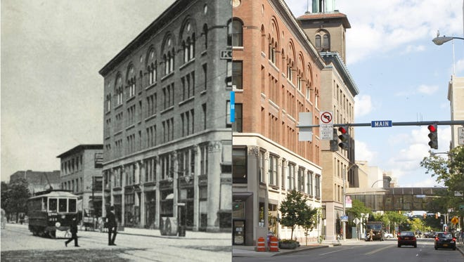 Retrofitting Rochester     Sibley Triangle Building  Image on left: From the Collection of the Rochester Public Library Local History Division  Image on right: Shawn Dowd sttaff photographer