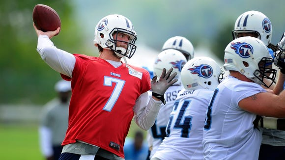 Titans receivers are used to catching quarterback Zach Mettenberger's hard throws in practice.