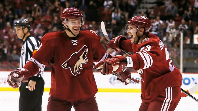 Arizona Coyotes defender Oliver Ekman-Larsson (right) celebrates his goal with defender Zbynek Michalek against the Washington Capitals during the second period at Gila River Arena in Glendale November 18, 2014.