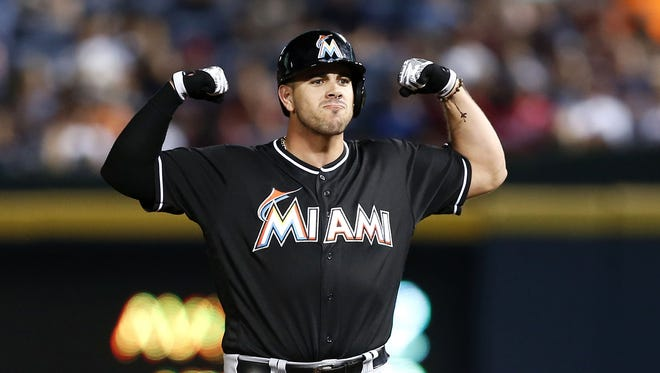 Jose Fernandez showed his hitting muscle with a pinch-hit, two-run double.