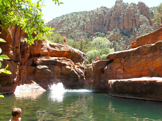 "Hike the Bell Trail for 3.3 miles to reach a popular swimming hole known as ""The Crack."""