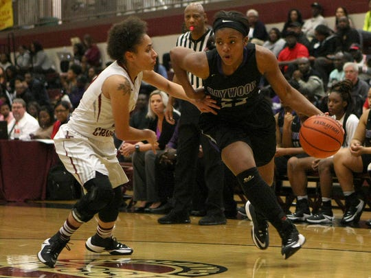 Haywood's Jamirah Shutes (23) drives against Liberty