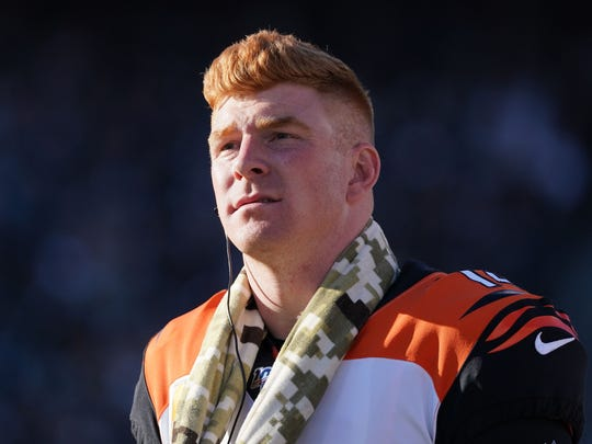 Nov 17, 2019; Oakland, CA, USA; Cincinnati Bengals quarterback Andy Dalton (14) watches from the sidelines in the second half against the Oakland Raiders at Oakland-Alameda County Coliseum. The Raiders defeated the Bengals 17-10.  Mandatory Credit: Kirby Lee-USA TODAY Sports