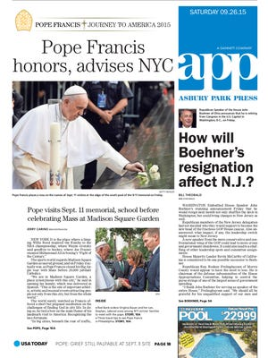 Asbury Park Press front page, Saturday, September 26, 2015