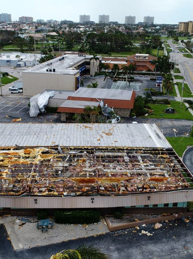 Aerial photos show the damage left behind in Irma's wake Monday, Sept. 11, 2017, on Marco Island, Fla.