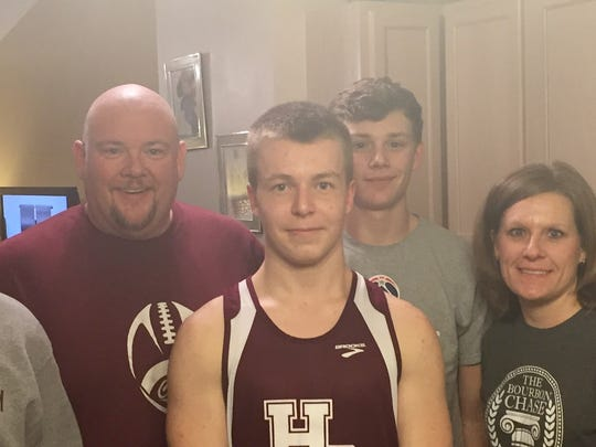 Adrian Kjellen, center, is a foreign exchange student from Sweden who is spending the year attending Henderson County High School. He is pictured with his host family, from left, Ian Troutman, Monte Troutman, Ty Troutman and Jennifer Troutman.