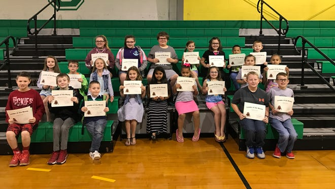 Cairo Elementary's April leaders of the month are, front row from left: Drake Cook, Matthew Schriber, Bryce Webb, Samuel Love and Blake Elliott. Middle row: Talyn Jones, Caleb Runyon, Kyndall Jones, Chloe Wilson, Anya Patel, Cori-Ann Foster, Maddie Roberson, Hayley Jo Hovey and I'Leah Hughes. Back row: Brooklyn Sowders, Lily Grimm, Zachary Yates, Avery Harper, Nevaeh Duncan, Mayze Duncan and Daniel Griffith. Not pictured: Cohlton Dossett.