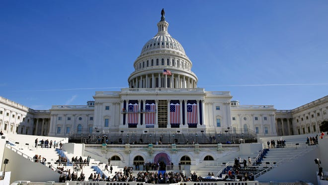 The U.S. Capitol frames the backdrop over the stage during a rehearsal of President-elect Donald Trump's swearing-in ceremony in Washington, D.C.
