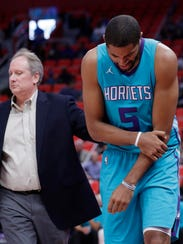 Charlotte Hornets' Nicolas Batum injured his shoulder during a game against the Detroit Pistons on Oct. 4, 2017.