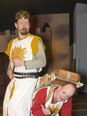 """David J. Ringwood, left, as King Arthur and Michael Britt as Patsy in County Players production of """"Spamalot."""""""