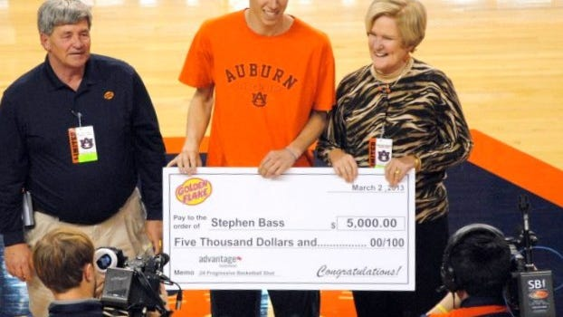 Stephen Bass won $5,000 toward his tuition by winning a shooting contest at Auburn in 2013.