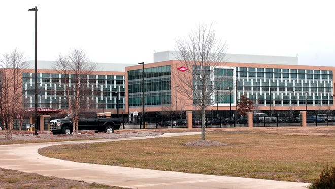 The Dow Chemical headquarters is shown December 10, 2015 in Midland, Michigan.