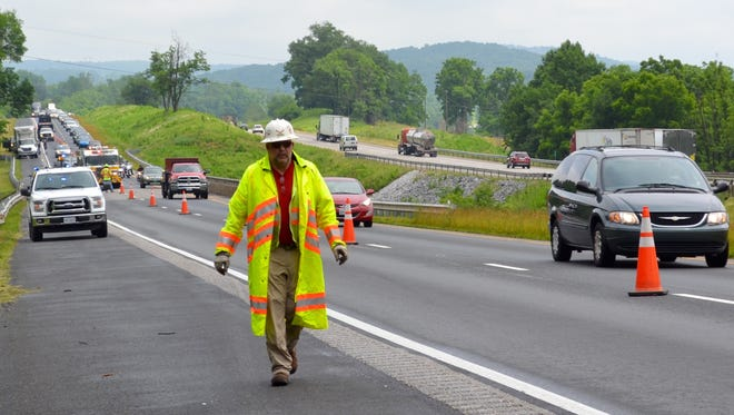 Traffic on southbound Interstate 81 near Greenville was at a standstill following a multiple vehicle accident on Friday.