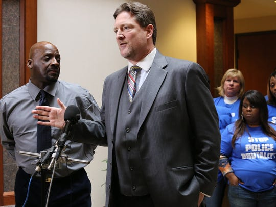 Floyd Dent, 57, with his attorney Gregory Rohl address