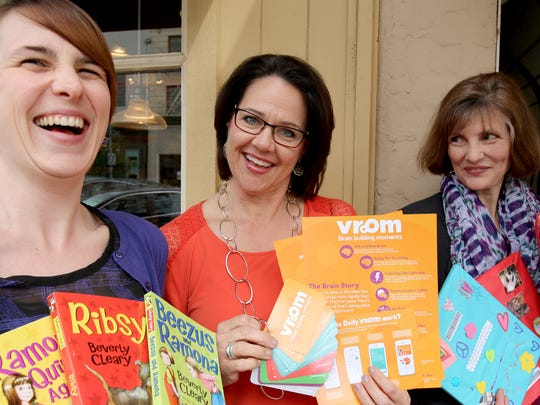 Jenn Columbus, from left, Lisa Harnisch and Karen Fischer are excited about upcoming celebrations about reading and Beverly Cleary.