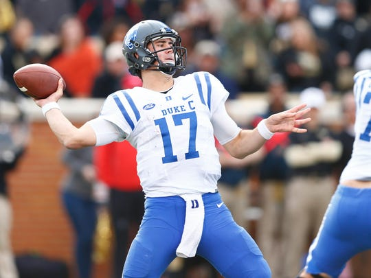 Nov 25, 2017; Winston-Salem, NC, USA; Duke quarterback Daniel Jones passes against Wake Forest at BB&T Field.