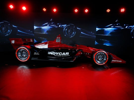 The redesigned 2018 IndyCar on display at the North