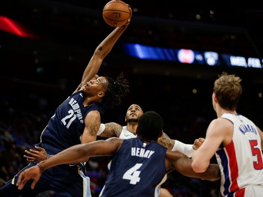 Memphis Grizzlies center Deyonta Davis (21) tries to rebound against the Detroit Pistons during the first half at Little Caesars Arena on Thursday, Feb. 1, 2018.