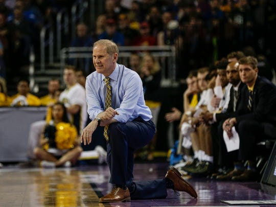Michigan coach John Beilein watches the first half against Montana in the first round NCAA tournament game in Wichita, Kan., Thursday, March 15, 2018.