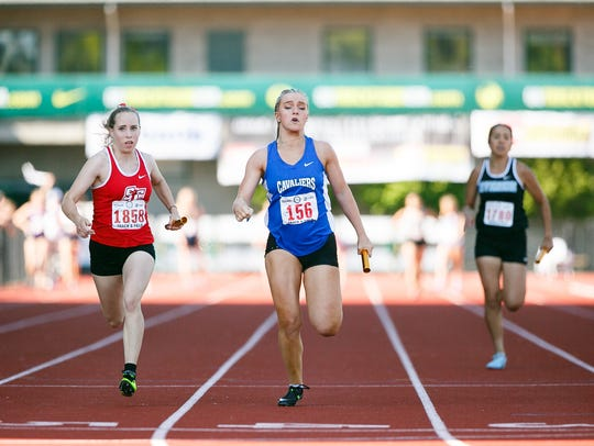 Blanchet Catholic's Bailey Hittner approaches the finish