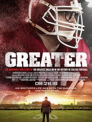 "The promotional poster for the film ""Greater"" to be"
