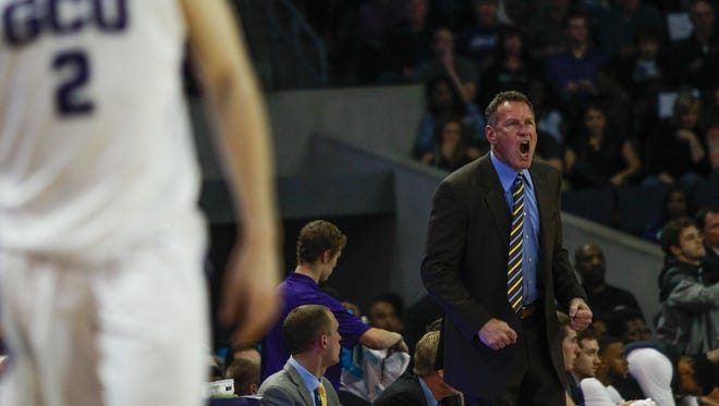 Grand Canyon University head coach Dan Majerle yells to his team as Grand Canyon University faces off against Seattle University on Saturday, Jan. 30, 2016, at Grand Canyon University Arena in Phoenix, Ariz.