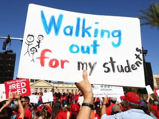 Arizona teacher rally at the Arizona State Capitol