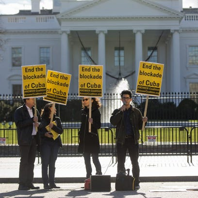 Demonstrators gather outside the White House on Wednesday.