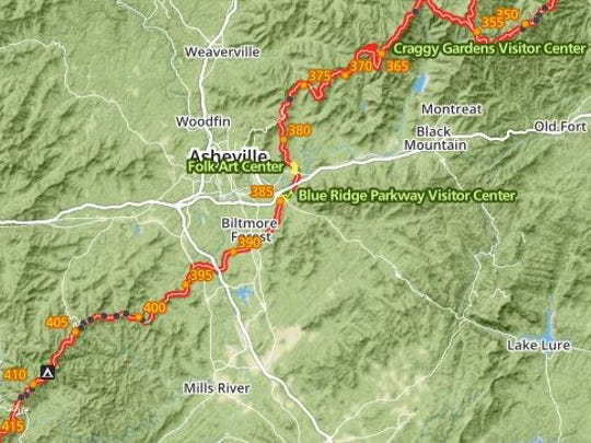 The Blue Ridge Parkway is closed in Asheville.