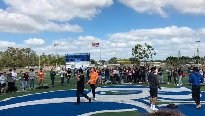 Students staged a walkout at Barron Collier High School on Wednesday, Feb. 21, 2018, to protest gun violence.