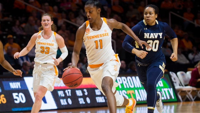 Tennessee's Diamond DeShields drives down the court during the second half against Navy on Nov. 13 at Thompson-Boling Arena.