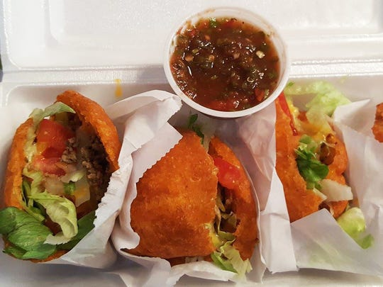 Gorditas ($5): four medium gorditas filled with a ground beef and potato mixture and topped with fresh lettuce, tomato and cheese, and a side of salsa.