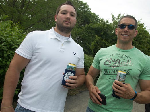 Kris Krebs, 31, left, and Jamie Waddingham, 40, during