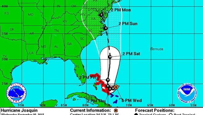 An update projected path for Hurricane Joaquin, as of 5 p.m. Sept. 30.