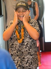 """Javier """"JJ"""" Luna is surprised by family and friends with a kick-off party for his Make-A-Wish trip to Hawaii. Luna was diagnosed with cancer in 2016 and went through five rounds of chemo, the most recent partially impairing his ability to walk. He's currently in remission. He wants to go to Hawaii because he's always loved marine life."""