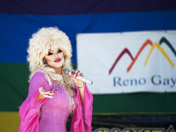 Kenneth Rex performs at the Gay Pride festival on Saturday, August 16, 2014 at Wingfield Park in downtown Reno, Nev.