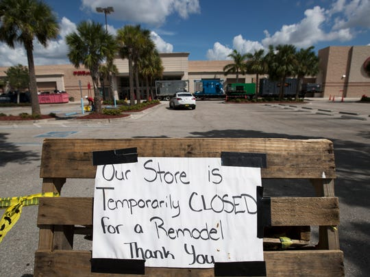The Target store located at Market Square in Fort Myers is still undergoing remodeling efforts after suffering damages from Hurricane Irma last month.