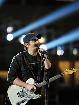 """Brad Paisley practices his song """"Crushin it"""" during rehearsals for the 50th Academy of Country Music Awards at AT&T Stadium this Sunday, April 19th Friday April 17, 2015, in Dallas, TX"""