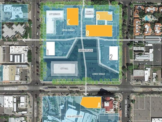 The site plan for the proposed Arizona State University satellite campus in downtown Mesa.