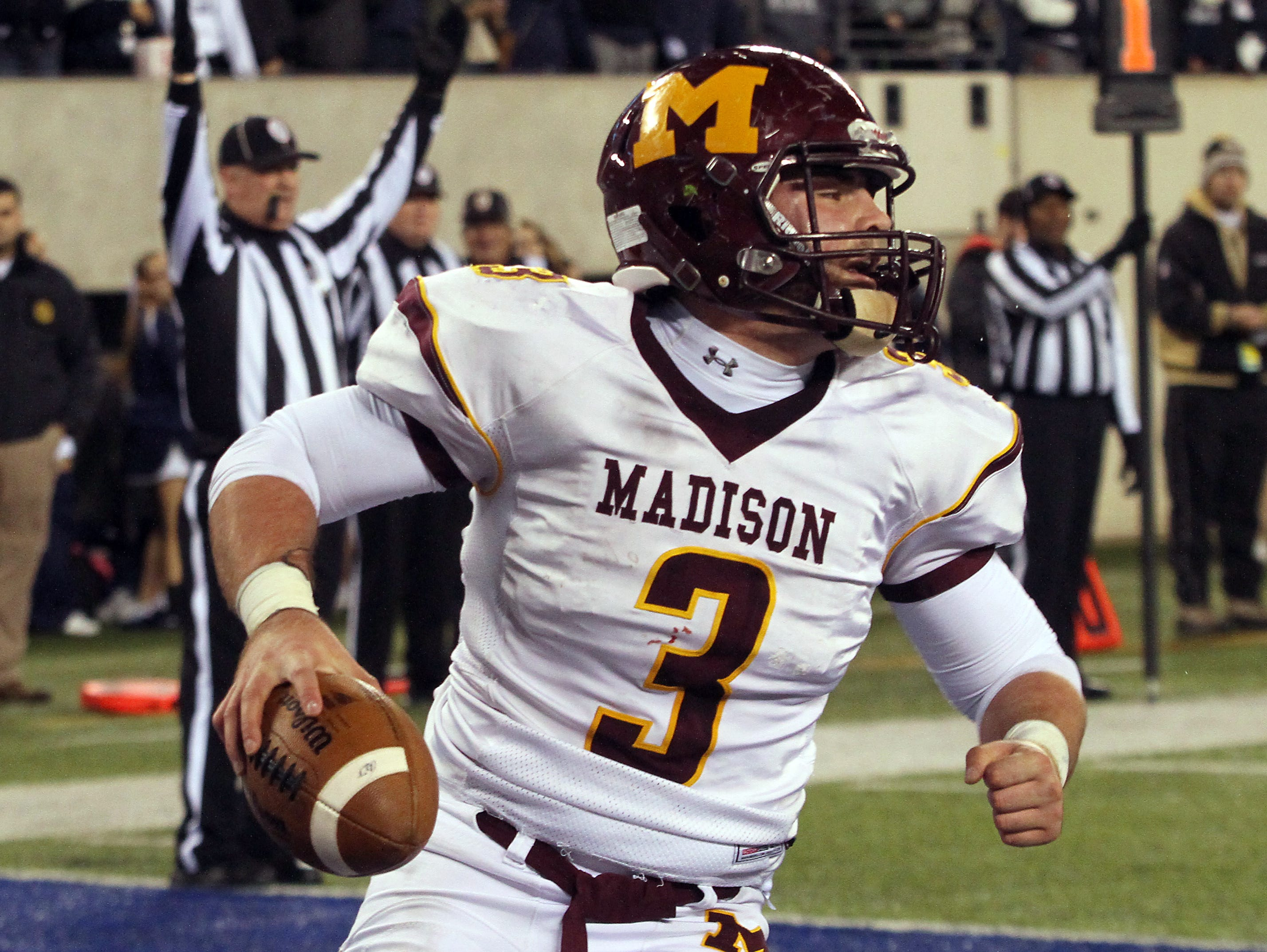 Madison's Dom Luppino celebrates after scoring at the end of the first half vs. Rutherford in the North 2, Group 2 NJSIAA football Championship at MetLife Stadium. December 3, 2015, East Rutherford, NJ.