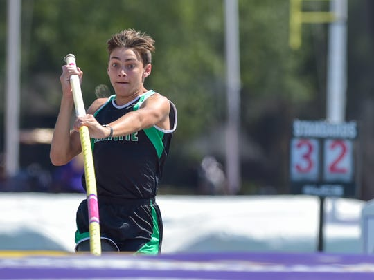 Armand Duplantis competes in the boys 5A Pole Vault at the LHSAA Track and Field State Meet at LSU Bernie Moore Stadium.